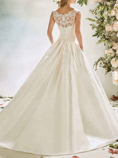 A-Line Wedding Dresses V Neck Sweep \ Brush Train Lace Tulle Cap Sleeve Vintage Sexy Wedding Dress in Color Backless_2