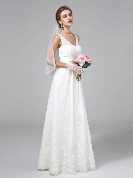 A-Line Wedding Dresses V Neck Floor Length Lace Regular Straps Simple Illusion Detail_3