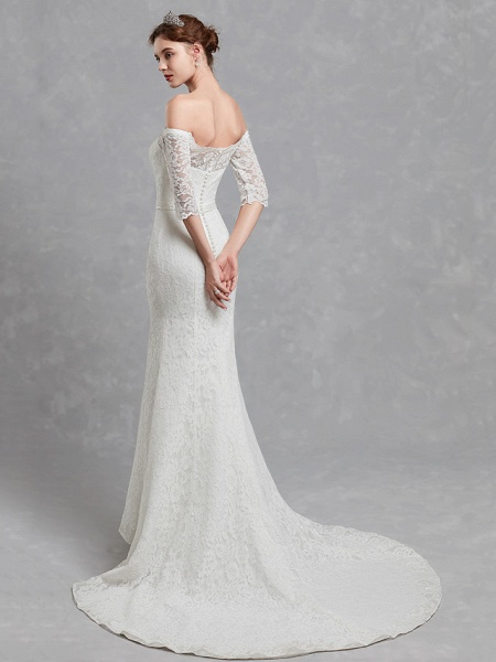 Mermaid \ Trumpet Wedding Dresses Off Shoulder Court Train Lace 3\4 Length Sleeve Cutouts_2