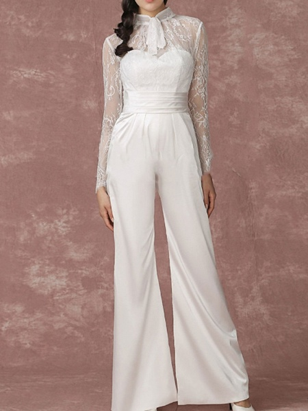 Jumpsuits Wedding Dresses Jewel Neck Floor Length Lace Long Sleeve Simple Modern_1