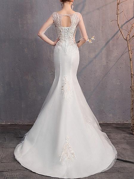 Mermaid \ Trumpet Wedding Dresses Jewel Neck Sweep \ Brush Train Lace Tulle Half Sleeve_4