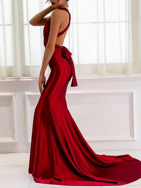 Sheath \ Column Wedding Dresses V Neck Sweep \ Brush Train Satin Regular Straps Romantic Plus Size Red_3