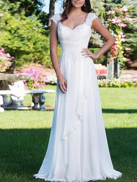 A-Line Wedding Dresses V Neck Court Train Chiffon Cap Sleeve_1