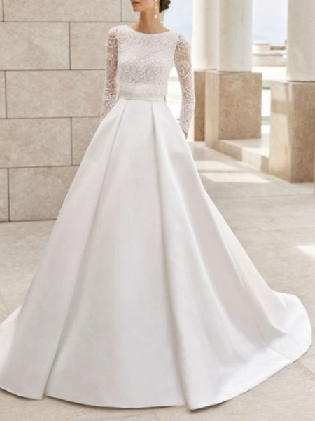 A-Line Wedding Dresses Jewel Neck Court Train Lace Satin Long Sleeve Simple Elegant_1