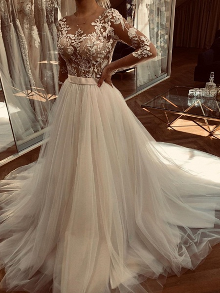A-Line Wedding Dresses Jewel Neck Sweep \ Brush Train Lace Tulle Long Sleeve Sexy See-Through_1