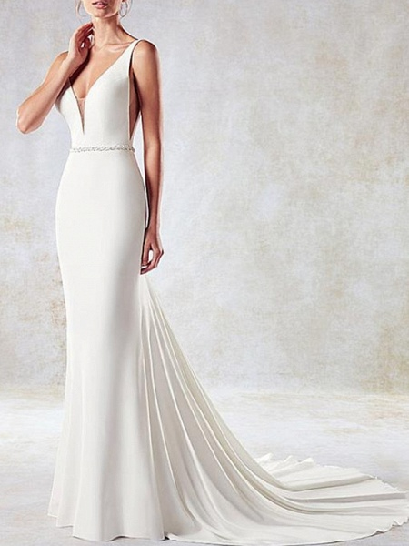 Mermaid \ Trumpet Wedding Dresses V Neck Sweep \ Brush Train Lace Tulle Stretch Satin Sleeveless Simple Sexy Backless Cape_3