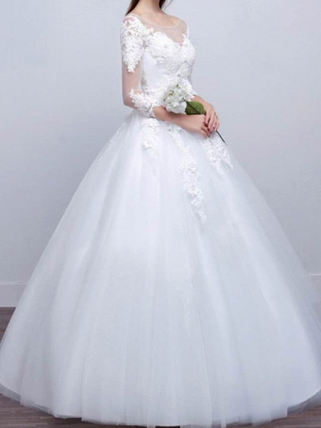 Ball Gown Wedding Dresses V Neck Sweep \ Brush Train Lace Satin Tulle Long Sleeve Formal_5