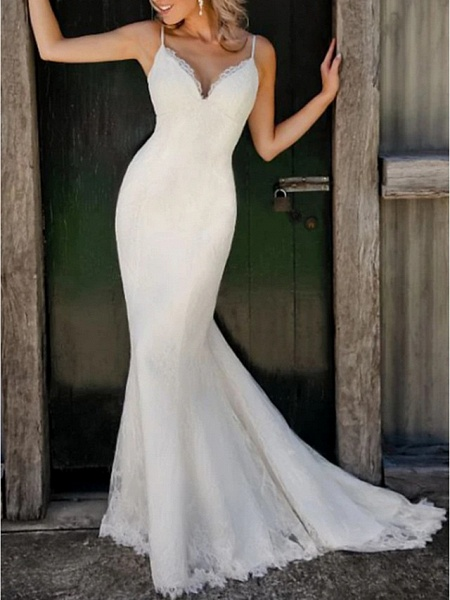 Mermaid \ Trumpet Wedding Dresses V Neck Sweep \ Brush Train Lace Satin Spaghetti Strap Plus Size_1