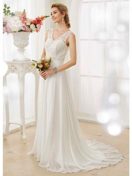 A-Line Wedding Dresses V Neck Court Train Chiffon Lace Bodice Regular Straps Sexy Illusion Detail Backless_1