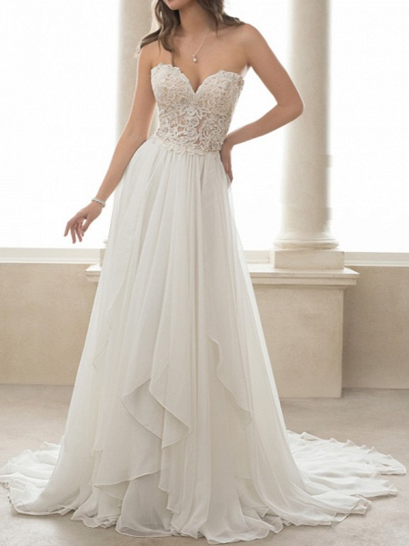 A-Line Wedding Dresses Sweetheart Neckline Sweep \ Brush Train Lace Tulle Strapless Romantic Simple Backless_1