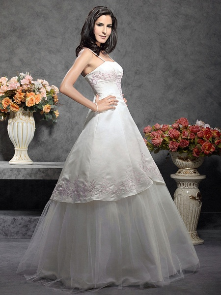 Princess A-Line Wedding Dresses Square Neck Floor Length Satin Tulle Spaghetti Strap Wedding Dress in Color_4