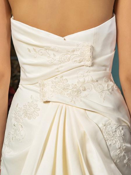 A-Line Wedding Dresses Strapless Court Train Satin Sleeveless_8
