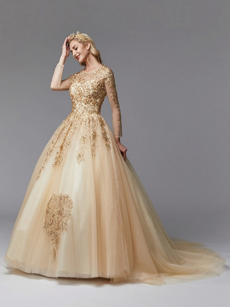 Ball Gown Wedding Dresses Jewel Neck Sweep \ Brush Train Lace Tulle Long Sleeve Glamorous See-Through Backless Modern_4