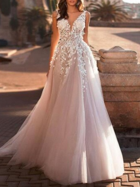 A-Line Wedding Dresses V Neck Sweep \ Brush Train Lace Tulle Regular Straps Mordern See-Through_1