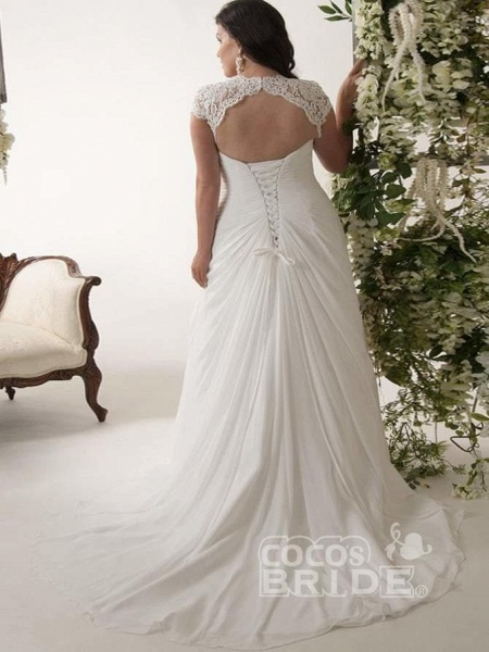 V-neck Cap Sleeves Sweep Train Appliqued Open Back Chiffon Bridal Gown_2