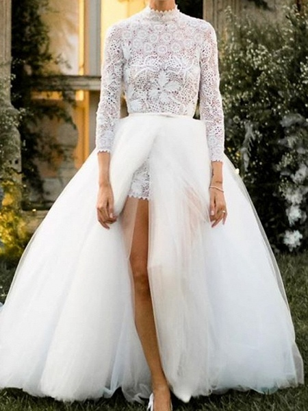 Jumpsuits Ball Gown Wedding Dresses High Neck Floor Length Lace Tulle 3\4 Length Sleeve Sexy See-Through_2