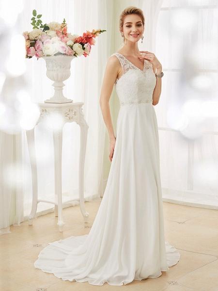 A-Line Wedding Dresses V Neck Court Train Chiffon Lace Bodice Regular Straps Sexy Illusion Detail Backless_4