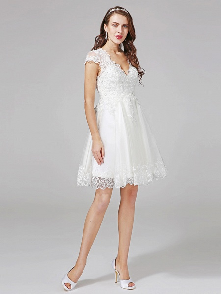 A-Line Wedding Dresses V Neck Knee Length Lace Over Tulle Cap Sleeve Formal Casual Illusion Detail Backless_3