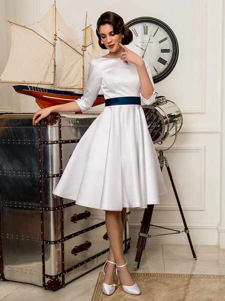 A-Line Wedding Dresses Bateau Neck Knee Length Satin 3\4 Length Sleeve Simple Casual Vintage Plus Size Cute_4