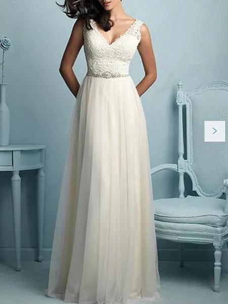 A-Line Wedding Dresses V Neck Sweep \ Brush Train Tulle Sleeveless Casual Plus Size_1