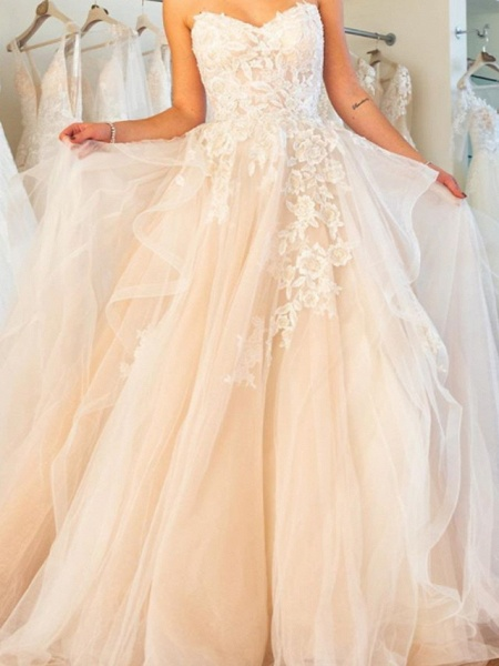 Ball Gown Wedding Dresses Strapless Sweep \ Brush Train Lace Tulle Sleeveless Formal Plus Size_2