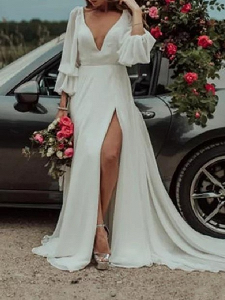 A-Line Wedding Dresses Plunging Neck Sweep \ Brush Train Chiffon Long Sleeve Country Plus Size_1