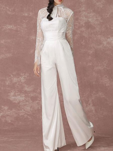 Jumpsuits Wedding Dresses Jewel Neck Floor Length Lace Long Sleeve Simple Modern_4