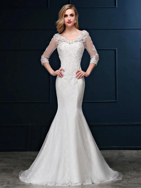 Mermaid \ Trumpet Wedding Dresses V Neck Sweep \ Brush Train Lace Over Tulle 3\4 Length Sleeve Romantic Glamorous Sparkle & Shine Backless Illusion Sleeve_1