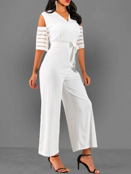 Women's V Neck Blue White Black Slim Jumpsuit_5