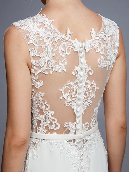 Mermaid \ Trumpet Wedding Dresses Bateau Neck Court Train Chiffon Lace Regular Straps Sexy Illusion Detail Backless_11