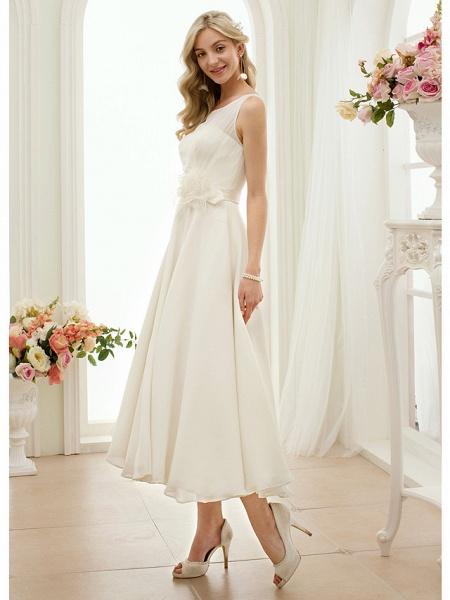 A-Line Wedding Dresses Bateau Neck Tea Length Chiffon Regular Straps Vintage Little White Dress 1950s_3