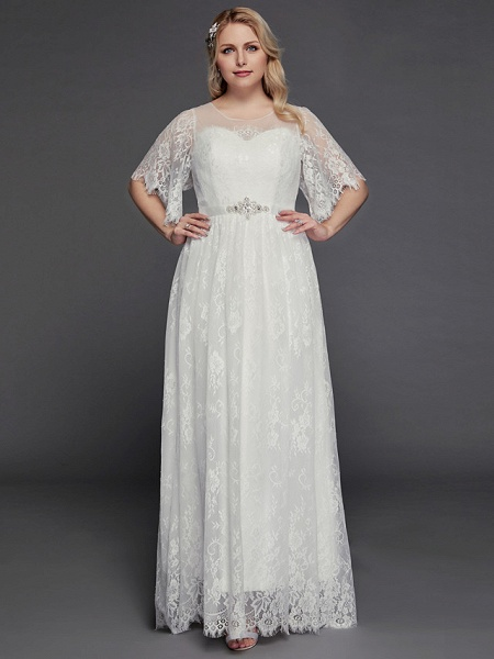 A-Line Wedding Dresses Illusion Neck Jewel Neck Floor Length Lace Tulle Half Sleeve Formal Boho Little White Dress See-Through_1