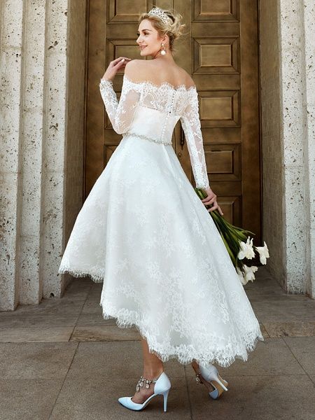 A-Line Wedding Dresses Off Shoulder Asymmetrical Lace Long Sleeve Casual Plus Size Illusion Sleeve_2