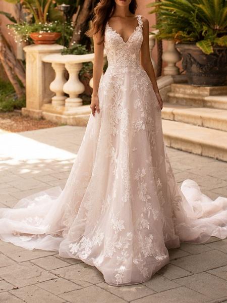 A-Line V Neck Court Train Polyester Sleeveless Formal Plus Size Wedding Dresses_1
