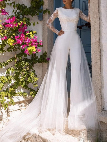 Jumpsuits Wedding Dresses Jewel Neck Court Train Lace Tulle Polyester Long Sleeve Illusion Sleeve_1