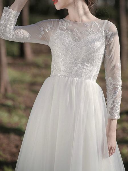 A-Line Wedding Dresses Jewel Neck Ankle Length Lace Tulle Long Sleeve Simple Little White Dress Elegant Illusion Sleeve_2