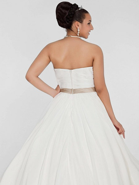 Ball Gown Wedding Dresses Sweetheart Neckline Court Train Chiffon Strapless Simple Vintage Plus Size Backless Cute_7