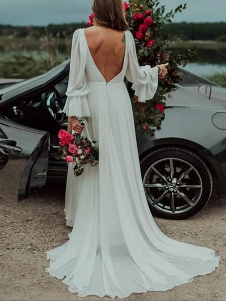 A-Line Wedding Dresses Plunging Neck Sweep \ Brush Train Chiffon Long Sleeve Country Plus Size_2