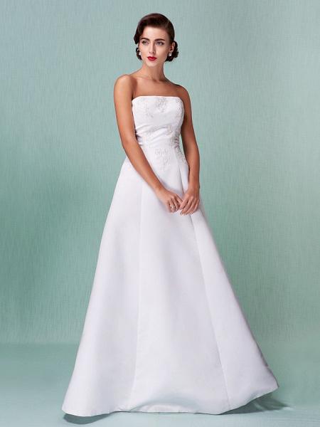 A-Line Wedding Dresses Strapless Floor Length Lace Over Satin Strapless Formal Simple Vintage Little White Dress Plus Size_9