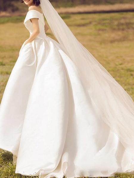 Ball Gown A-Line Wedding Dresses Off Shoulder Floor Length Satin Sleeveless Simple_2