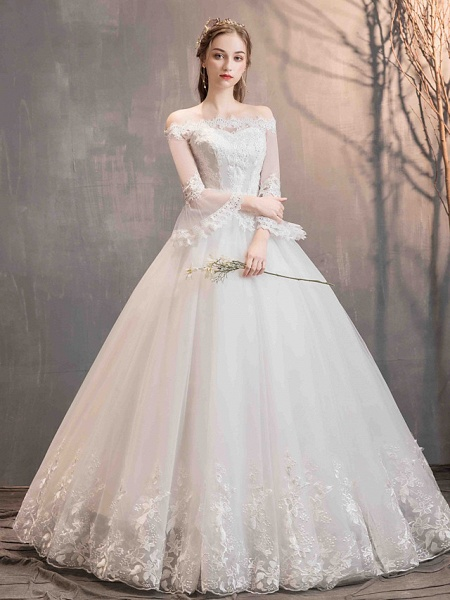 Ball Gown Wedding Dresses Off Shoulder Floor Length Lace Tulle Long Sleeve Romantic Illusion Sleeve_4