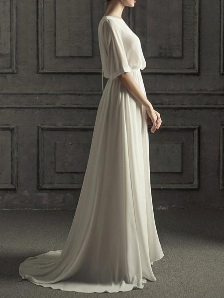 A-Line Wedding Dresses Jewel Neck Sweep \ Brush Train Chiffon Satin Half Sleeve Simple Elegant_4