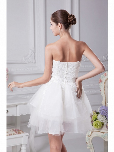 A-Line Wedding Dresses Strapless Mini Lace Organza Strapless_4