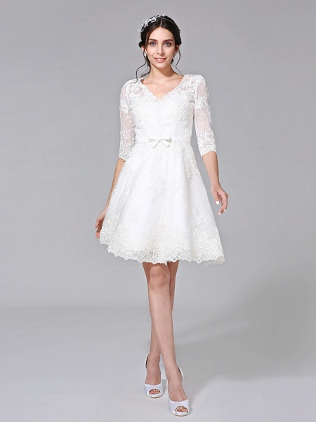 A-Line Wedding Dresses V Neck Knee Length All Over Lace 3\4 Length Sleeve Formal Casual Vintage Cute Illusion Sleeve_2