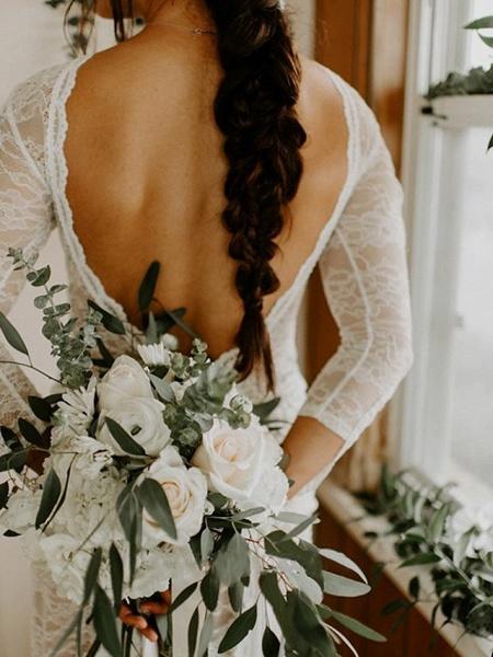 A-Line Wedding Dresses Jewel Neck Sweep \ Brush Train Chiffon Lace Long Sleeve Beach Boho Sexy_6