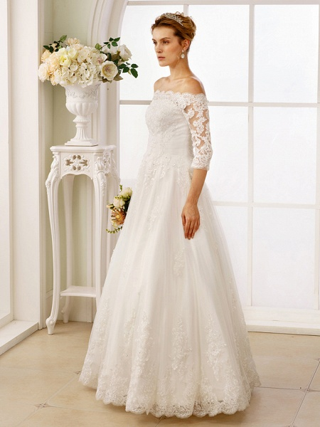 A-Line Off Shoulder Floor Length Lace Tulle Lace Over Tulle 3\4 Length Sleeve Floral Lace Illusion Sleeve Wedding Dresses_5