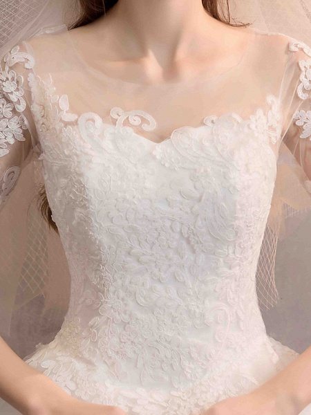 Ball Gown Wedding Dresses Jewel Neck Floor Length Lace Tulle Half Sleeve Glamorous See-Through Backless Illusion Sleeve_9