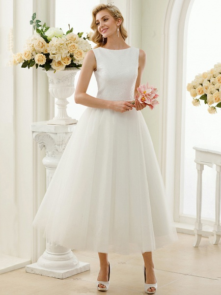 A-Line Wedding Dresses Bateau Neck Tea Length Tulle Sequined Regular Straps Simple Little White Dress_1