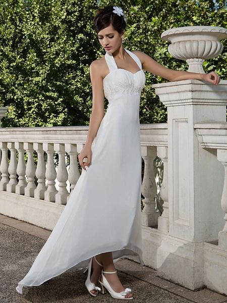 Sheath \ Column Wedding Dresses Halter Neck Sweetheart Neckline Asymmetrical Chiffon Sleeveless_2