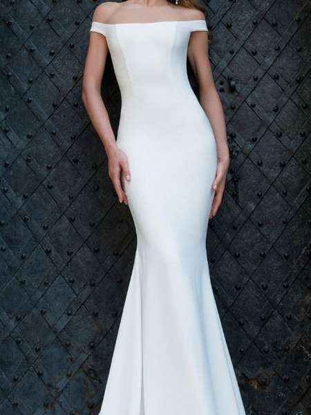 Mermaid \ Trumpet Wedding Dresses Off Shoulder Sweep \ Brush Train Tulle Stretch Satin Jersey Short Sleeve Country Plus Size_3